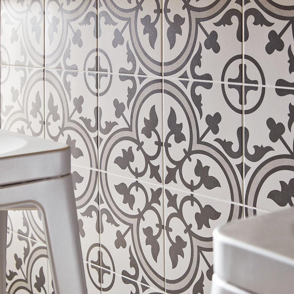 Patterned Porcelain - Origin - Monochrome - Nick Firth Tiles Ltd